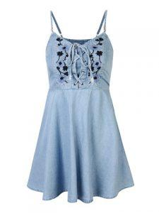 Floral Embroidered Denim Strap Mini Dress