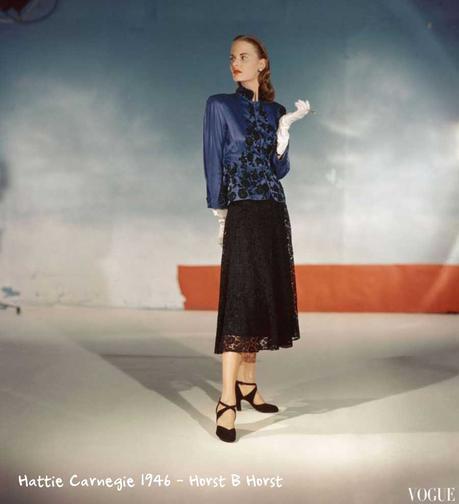 Hattie-Carnegie--black-lace-skirt-top-1946-Vogue