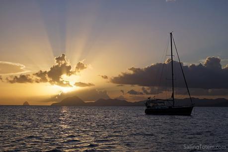 Sunset Martinique sailboat