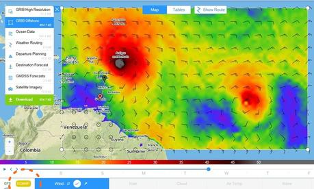 PredictWind gribs showing hurricane