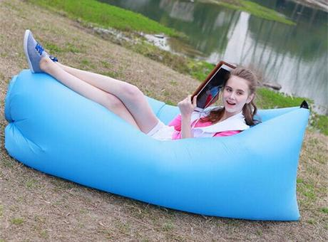 girl lounging on an inflatable
