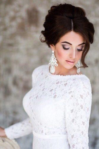 wedding hair and makeup low updo dark hair anastasiya gan