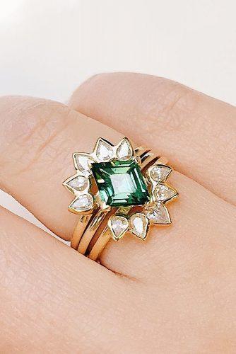 unique wedding rings floral rose gold gemstone round
