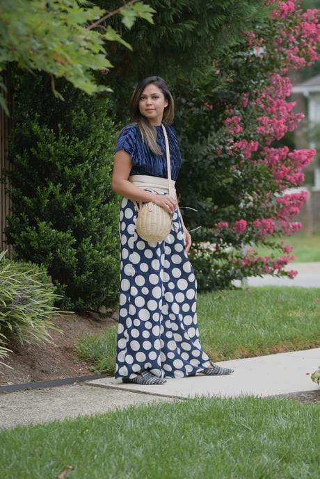 how to wear velvet, fall trend, polka dot wide leg pants, street style, outfit of the day, fashion blogge, indian fashion, straw bag, stripe blue mules, loafers, saumya shiohare