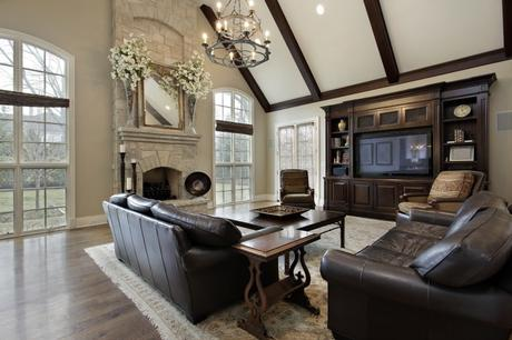 stone clad fireplace in living room