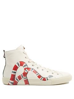 The Snake Winds On:  Gucci Major Snake-Print High-Top Leather Trainers