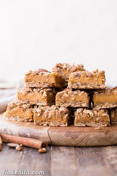 ThesePumpkin Pie Crumb Bars have an oatmeal crust and crumble with a smooth and sweet pumpkin pie filling! You'll go nuts for this gluten-free, refined sugar-free and vegan portable pumpkin pie.
