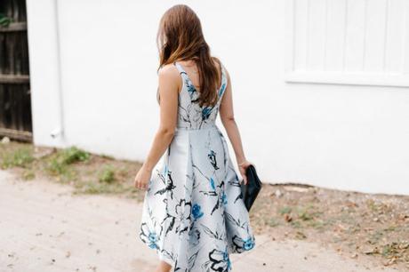 amy havins wears a shoshanna high low evening dress.