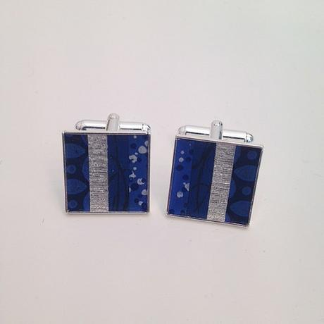Hand-Painted Paper and Silver Plated Cufflinks by Circle and Dash