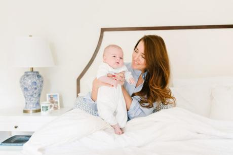amy havins shares her morning routine with baby ralph and wearing a blue and white sleep shirt.