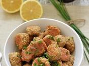 """Easy Oven Baked Vegetarian Mushroom """"Meatballs"""" Served with Skinny Honey Lemon Butter Sauce"""