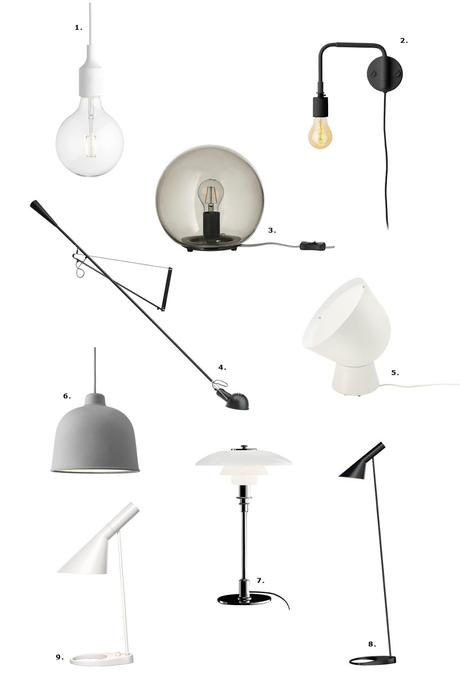 Muuto E27, IKEA FADO, FLOS 265, IKEA PS 2017 lamp, PH 3/2, AJ floor lamp, desk lamp, design lamps