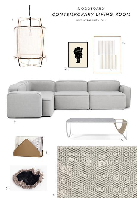 Contemporary living room moodboard by My Paradissi