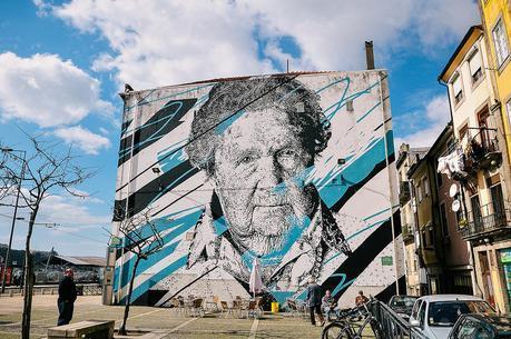 street art mural by Daniel Eime (.MIRA) in Miragaia, Porto