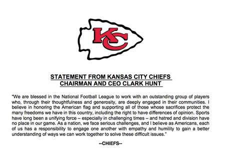 Breaking:  Chiefs CEO Releases Statement On NFL Protests
