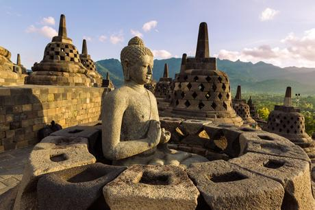 39. Borobudur temple in the island of Java, Indonesia, supports 72 statues of Buddha.