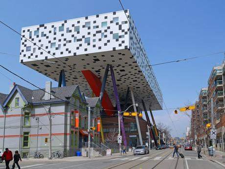 85. Walk under the colourful table-top structure of the Ontario College of Art and Design in Canada.