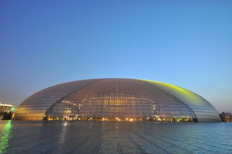 77. The dome-shaped National Grand Theatre in Beijing dominates the surrounding area, with a 696-foot circumference.