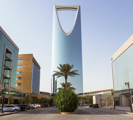 64. The razor-like Kingdom Centre overlooks Riyadh city, Saudi Arabia.