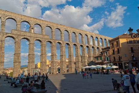 91. The Aqueduct of Segovia in central Spain was built by the Roman Empire in the 1st century and dominates the central square.