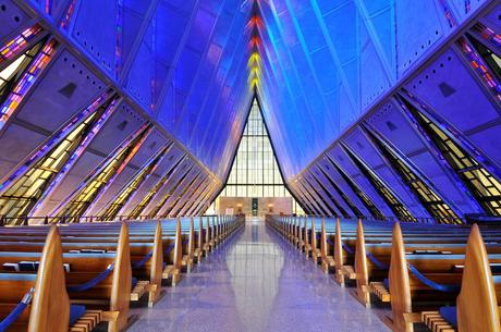 17. The triangular shape of the United States Air Force Academy Cadet Chapel is cleverly echoed in the stained glass windows that line its interior.