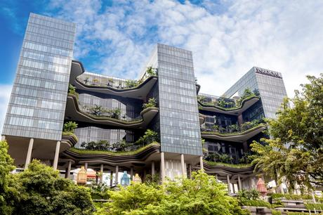 27. The Hotel Parkroyal in Singapore blends into its green surroundings by filling its huge balconies with plants.