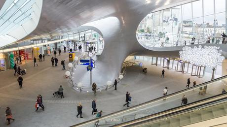 86. Station Arnhem in the Netherlands was transformed in 2015. Its swanky new transfer hall has a contemporary feel, supported by twisting steel columns.