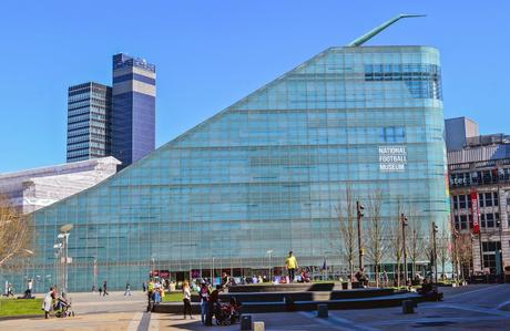 100. The slide-like Urbis building in Manchester, UK, contains a National Football Museum.