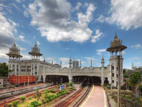 58. Designed by the architect A. B. Hubback, Kuala Lumpur Railway Station's Moorish influence is evident in its ornately decorated domes, arcs, and turrets.