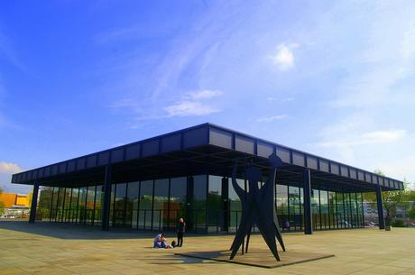 88. Neue Nationalgalerie in Berlin conceived by German architect Ludwig Mies van der Rohe in the 1960s has a Modernist design with clean lines and plenty of glass to allow light in.