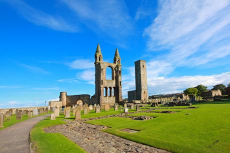 98. The remains of St. Andrew's Cathedral in Scotland provide a haunting setting for a brisk walk.