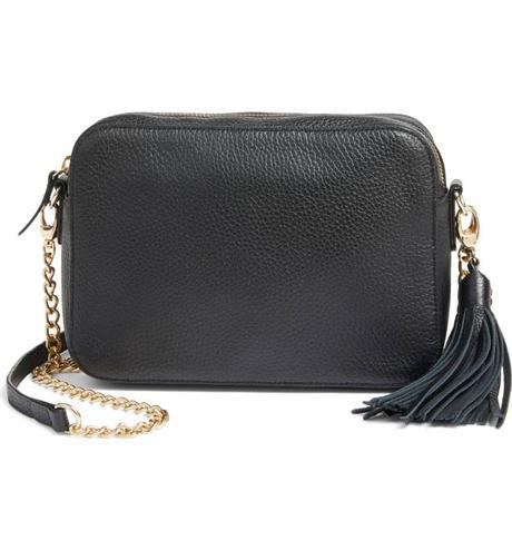 Leather tassel crossbody bag under $100. Details at une femme d'un certain age.