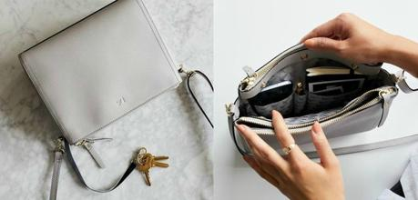 Lo & Sons Pearl crossbody bag in light gray. Details at une femme d'un certain age.