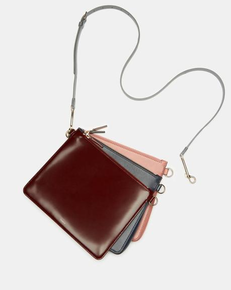 Theory triple pouch crossbody bag. Details at une femme d'un certain age.