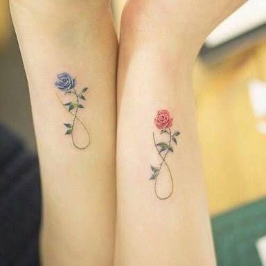 classic roses tattoo for couples