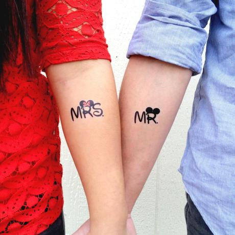 Mr and Mrs Cute Couple Tattoo