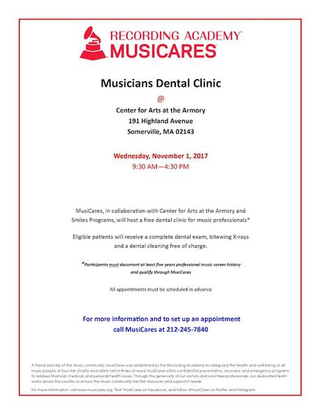 MusiCares Musicians Dental Clinic returns to Boston!