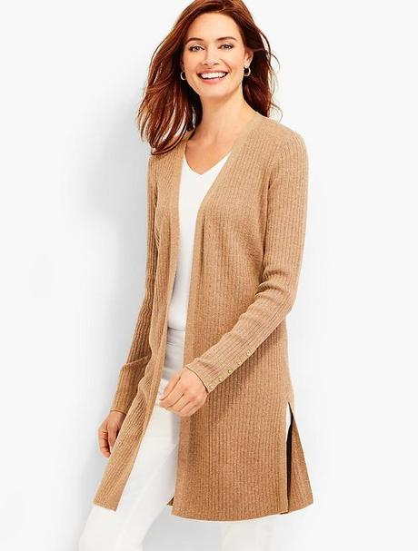 Ribbed cotton long cardigan from Talbot's. Details at une femme d'un certain age.