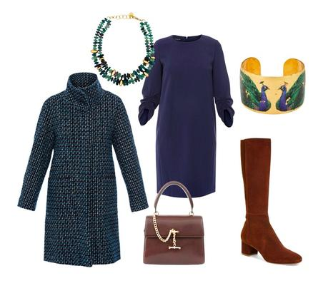 Outfit with dress and tweed coat from Halsbrook. Details at une femme d'un certain age.
