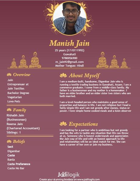 Jain Marriage Biodata Samples For Men And Women Paperblog