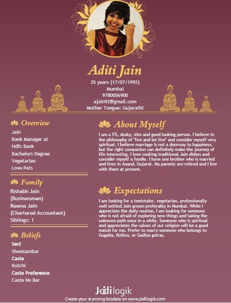 Jain Marriage Biodata Samples for Men and Women - Paperblog