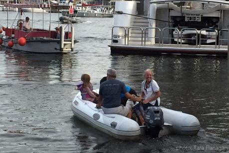 You know you're with your tribe when they pick you up in a dinghy
