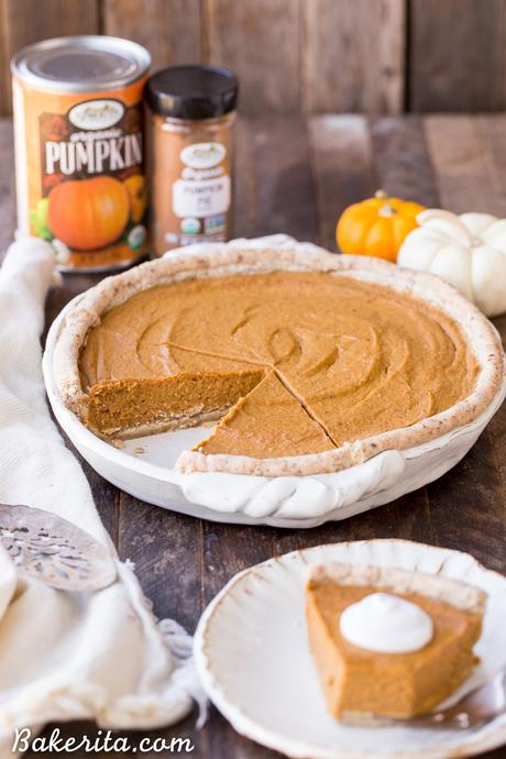 This Paleo + Vegan Pumpkin Pie is smooth, creamy, and perfectly spiced, with a flaky crust that you'd never believe is gluten-free, paleo AND vegan. This is allergy-friendly pie will be a holiday dessert staple.