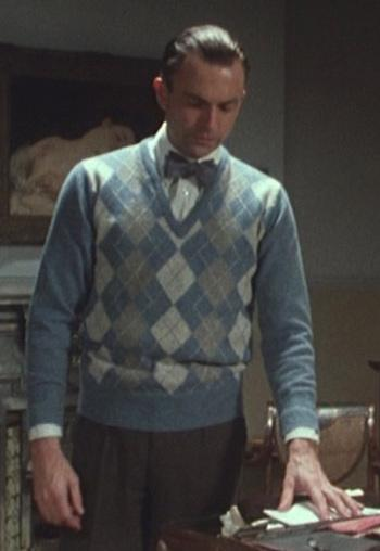 Sidney Reilly's Blue Argyle Sweater