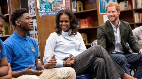 Michelle Obama & Prince Harry Visit Chicago High School