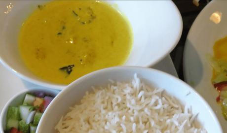 Sri Lankan pumpkin curry cooked in coconut milk (Watakka curry) with rice