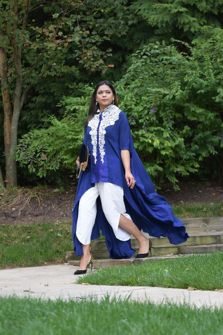how to remix your wardrobe, indian, desi, dhoti pants outfits, blue long dress, fashion, style, indian, how to wear fusion wear, saumya, myriad musings