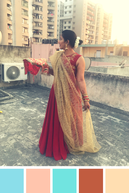 My Karva Chauth 2017 Outfit - A Westside Indo-Western Maroon Dress, Glittery Gold Dupatta, accessorised with Gold Jhumkas and Red and golden banglestopped with a bun squeezed with a mogra (jasmine) gajra (flower garland)