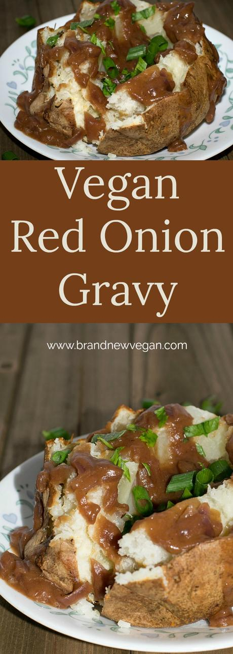 This Vegan Red Onion Gravy will surely be the hit of the party. A rich, flavorful gravy perfect for ladling over fluffy baked potatoes, or that Holiday Lentil Loaf.