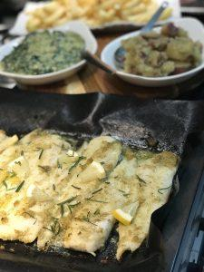 Grilled Fish & Creamy Spinach